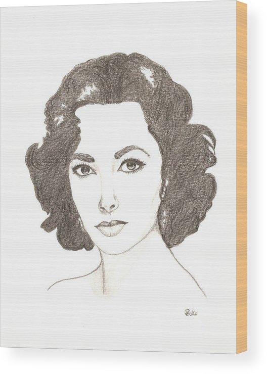 Elizabeth Taylor Wood Print featuring the drawing Elizabeth Taylor by Kiana Gonzalez