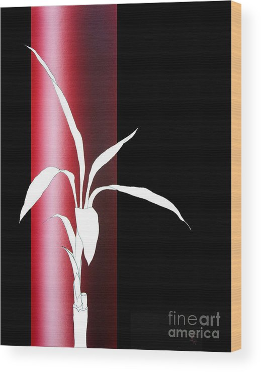 Bamboo Wood Print featuring the painting Essence Red by Carlos De Las Heras