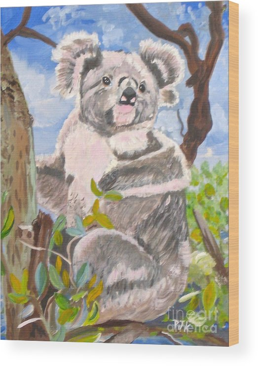 Koala Wood Print featuring the painting G Day Mate by Phyllis Kaltenbach