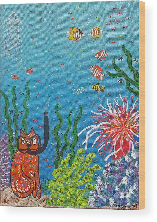 Cats Wood Print featuring the painting Kittyboy Goes Snorkeling by Marilyn Ferguson