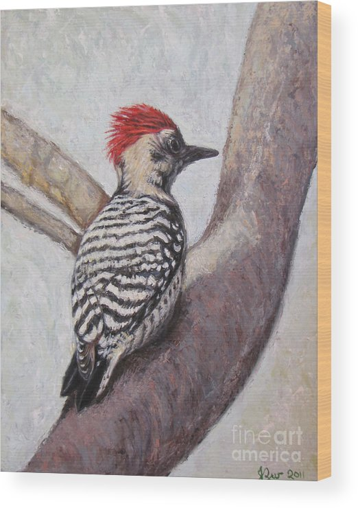 Ladder Backed Woodpecker Wood Print featuring the painting Ladder Backed Punk by Judith Zur