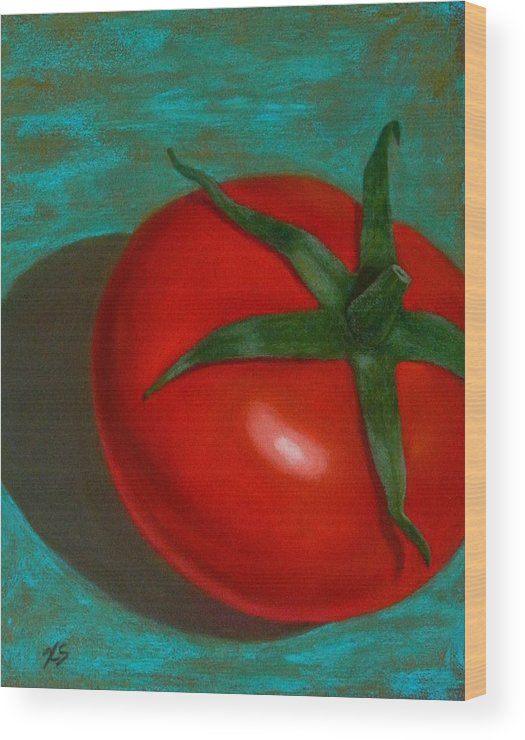 Still Life Wood Print featuring the painting Red Tomato by Xenia Sease