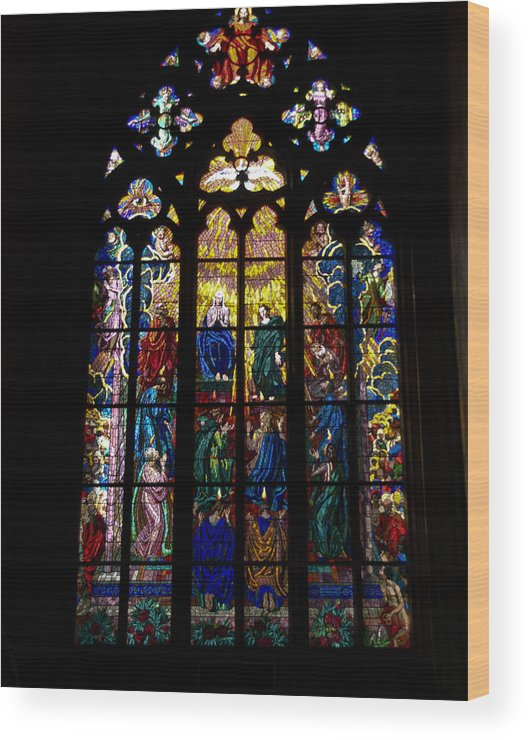 St Vitus Cathedral Wood Print featuring the photograph St Vitus Cathedral Stained Glass by Jon Berghoff