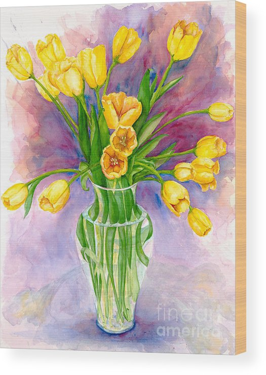 Floral Wood Print featuring the painting Tulipes Jaunes by Daryl R Nicholson