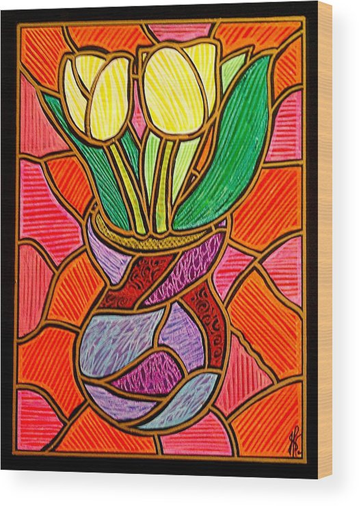 Tulips Wood Print featuring the painting Two Yellow Tulips by Jim Harris