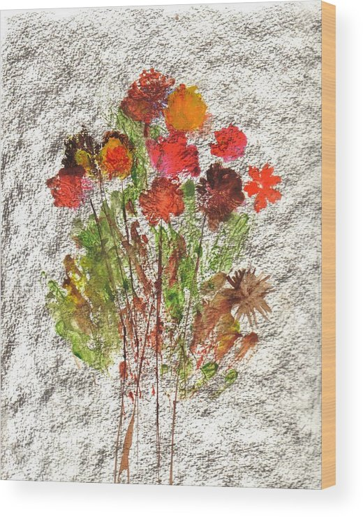 Abstract Flowers Wood Print featuring the painting Abstract Flowers by Hema Rana