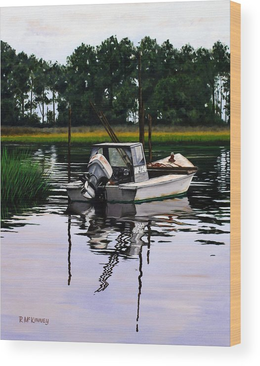 Boat Wood Print featuring the painting Apalach by Rick McKinney