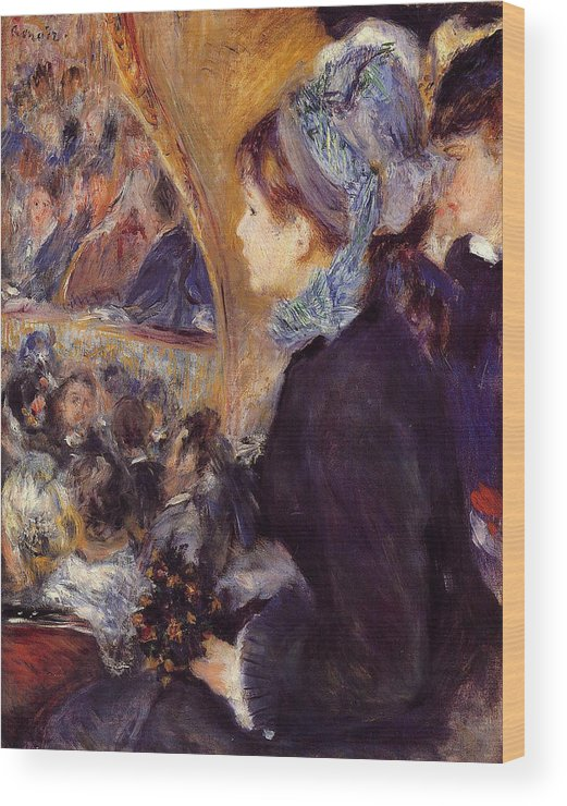Child Wood Print featuring the painting At The Theatre by Pierre-Auguste Renoir