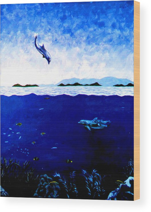 Dolphins Wood Print featuring the painting Celebration Of Life by Stan Hamilton