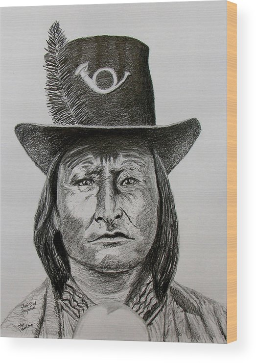 Portrait Wood Print featuring the drawing Chief Bird Arapahoe by Stan Hamilton
