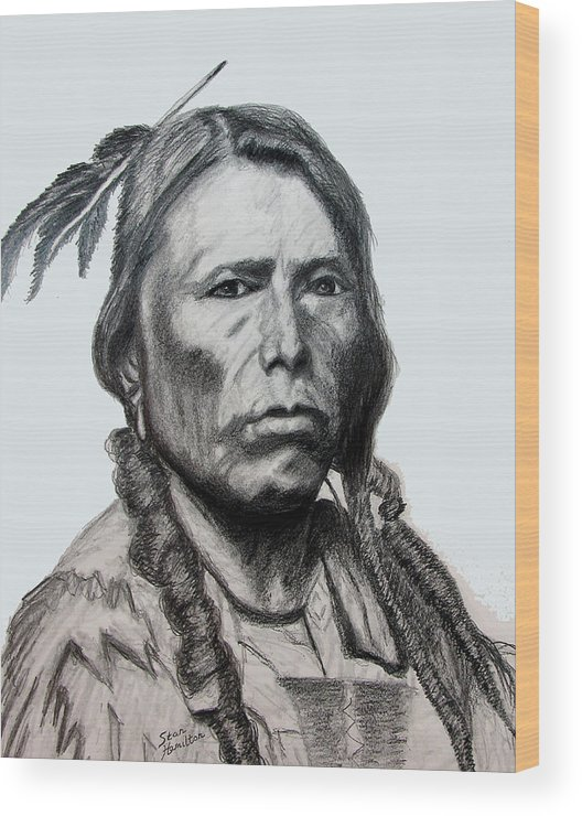 Indian Portrait Wood Print featuring the drawing Crazy Horse by Stan Hamilton
