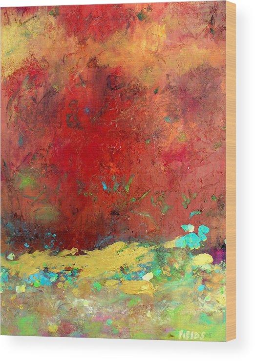 Organic Abstract Wood Print featuring the painting Experiences by Karen Fields