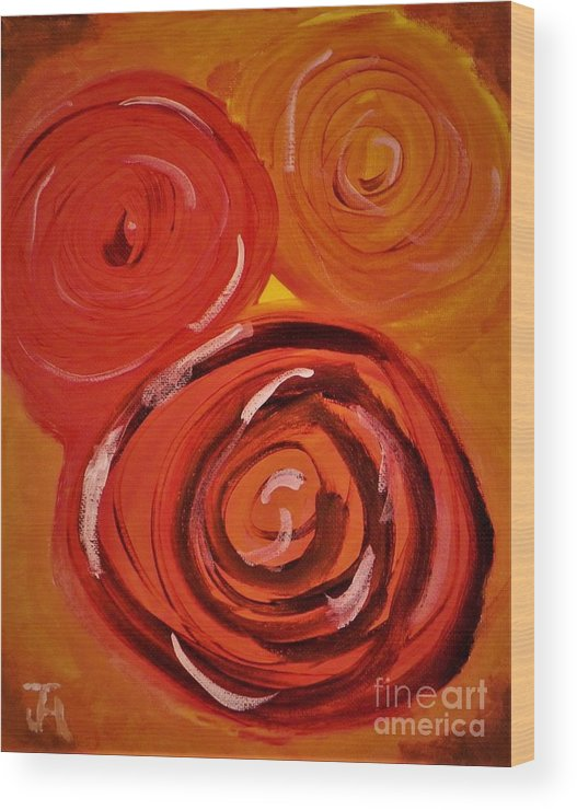Abstract Wood Print featuring the painting Flowers by John Holman Jr