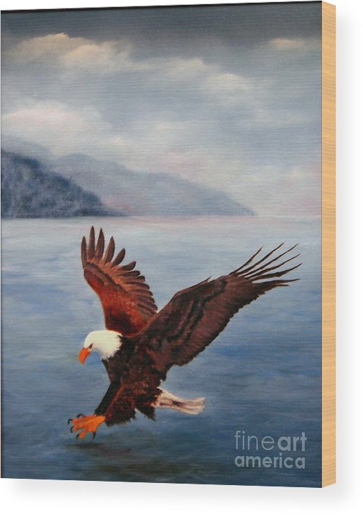 Eagle Wood Print featuring the painting Free by Jerry Walker