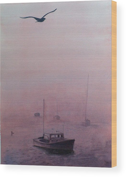 Seascape Wood Print featuring the painting Harbor Fog by Sylvia Stone