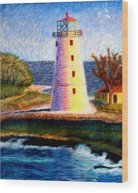 Light House Wood Print featuring the painting Light House by Stan Hamilton