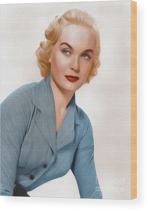 Shirley Wood Print featuring the painting Shirley Eaton, Carry On Films Cast 1 by John Springfield