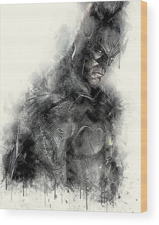 Batman Wood Print featuring the digital art Batman by Anna J Davis