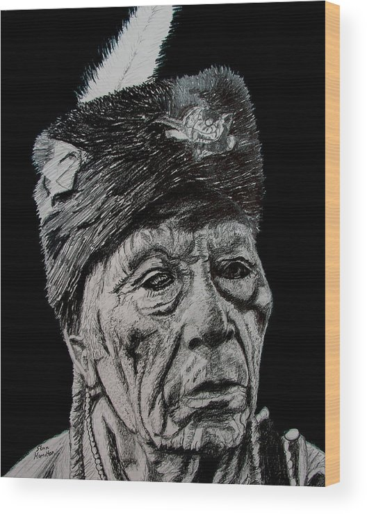 Pencil Wood Print featuring the drawing Unknown Indian IIi by Stan Hamilton