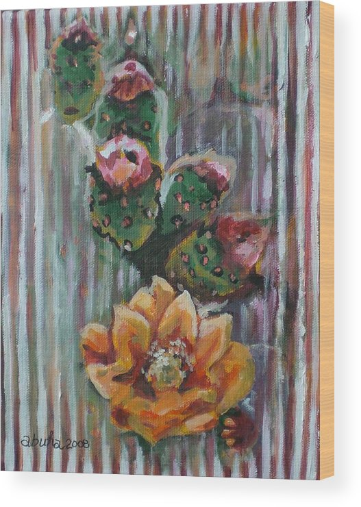 Cactus Wood Print featuring the painting Yellow Cactus Blossom by Aleksandra Buha