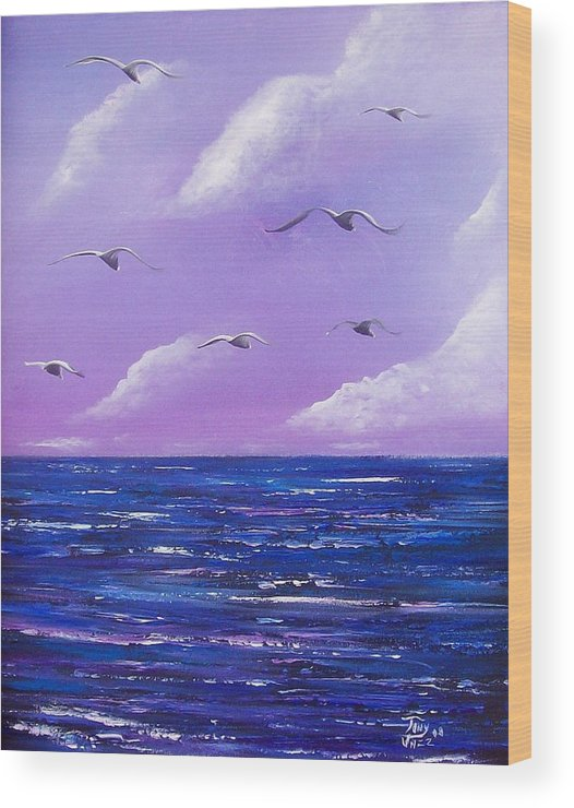 Seascape Wood Print featuring the painting 7 Seabirds by Tony Rodriguez