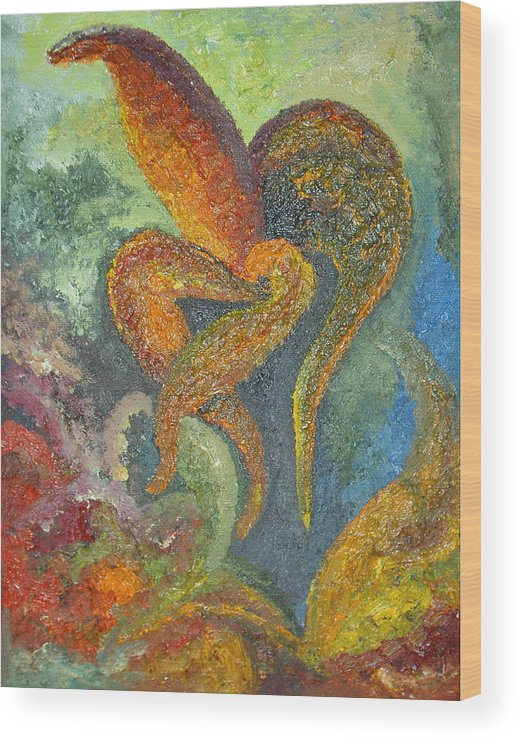 Flower Wood Print featuring the painting A Dancing Flower by Karina Ishkhanova