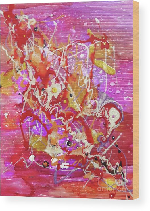 Abstract Wood Print featuring the mixed media Abstract 304 by Desiree Paquette