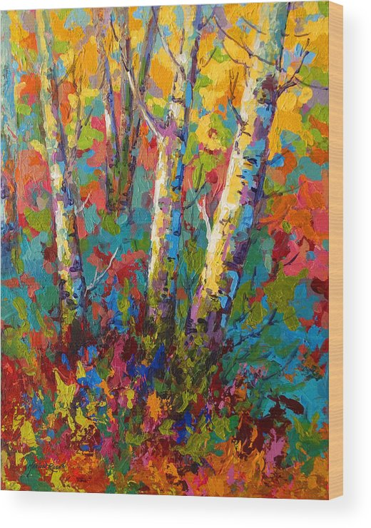 Trees Wood Print featuring the painting Abstract Autumn II by Marion Rose