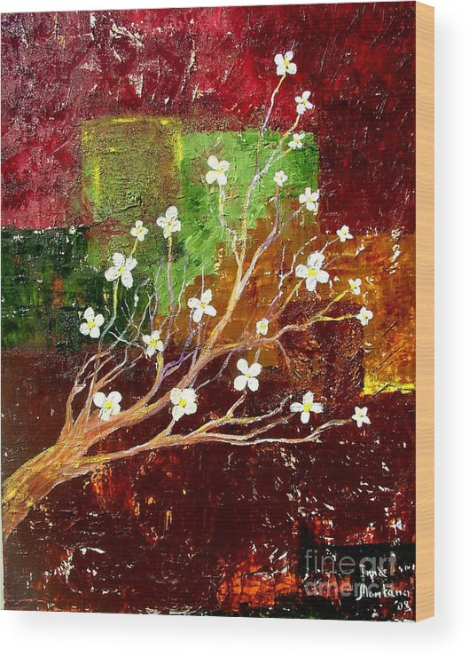 Abstract Wood Print featuring the painting Abstract Blossom by Inna Montano