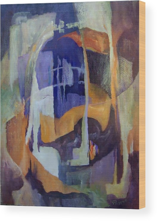 Abstract Wood Print featuring the painting Abstract Bridges by Virginia Potter