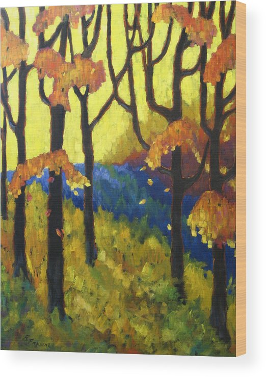 Art Wood Print featuring the painting Abstract Forest by Richard T Pranke