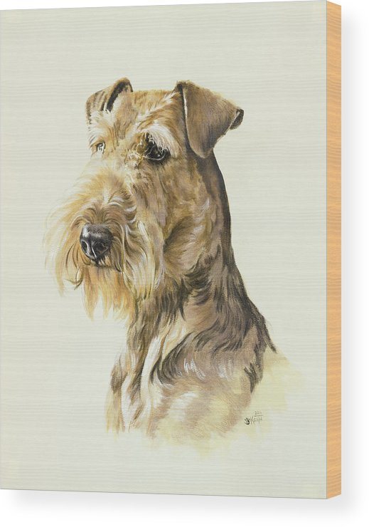 Terrier Wood Print featuring the painting Airedale In Watercolor by Barbara Keith