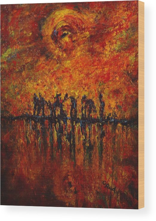 Landscape Wood Print featuring the painting All Of Them by David Grudniski
