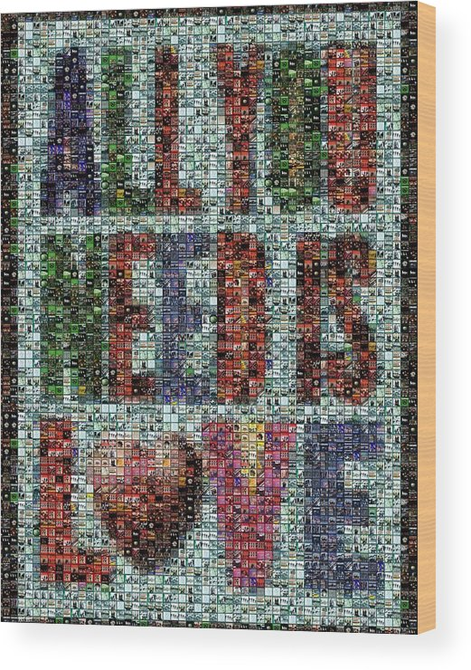 The Beatles Wood Print featuring the digital art All You Need Is Love Mosaic by Paul Van Scott