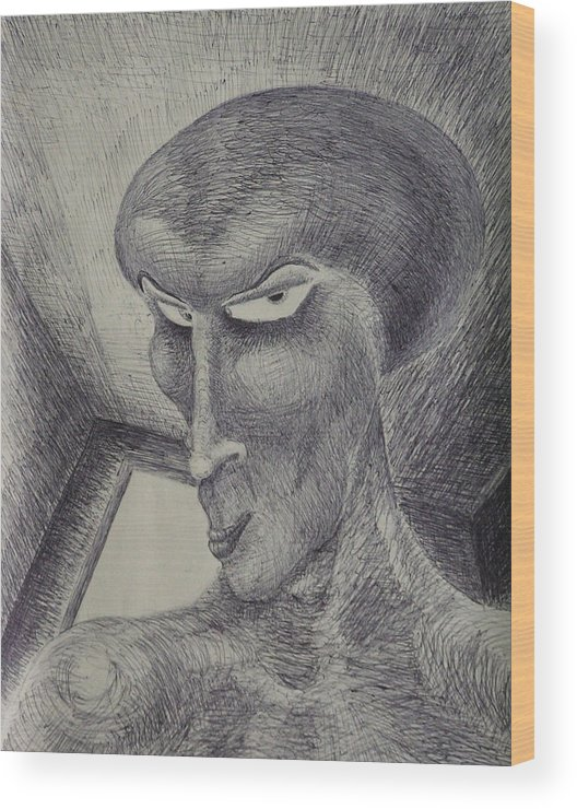 Drawing Wood Print featuring the drawing Always Watching You by Mark Sharer