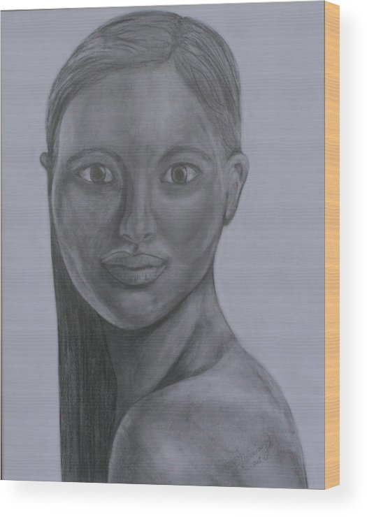 Beautiful Woman Wood Print featuring the drawing Anastasia by Sandra Winiasz