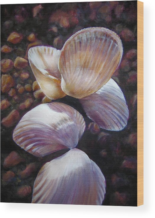 Painting Wood Print featuring the painting Ane's Shells by Fiona Jack