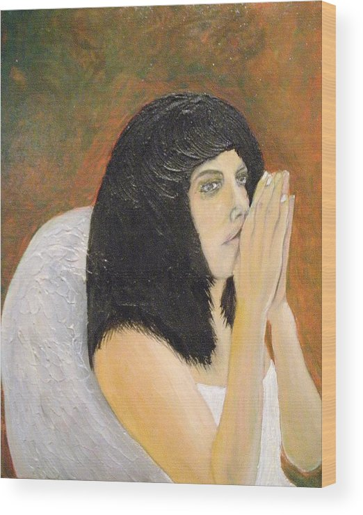 She Prays For All Mankind Wood Print featuring the painting Annolita Praying by J Bauer