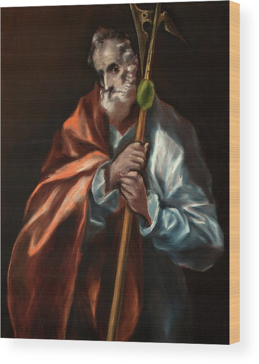 Apostle Wood Print featuring the painting Apostle Saint Thaddeus, Jude by El Greco