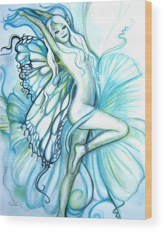 Dancing Fairy Wood Print featuring the drawing Aquafairie by L Lauter