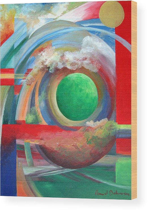Abstract Wood Print featuring the painting Arc by Muriel Dolemieux