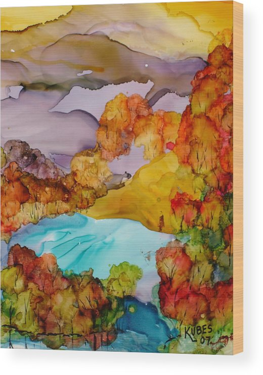 Fall Wood Print featuring the mixed media Arcadia by Susan Kubes