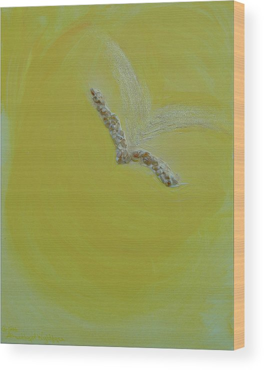 Angels Wood Print featuring the painting Archangel Gabriel by Emerald GreenForest