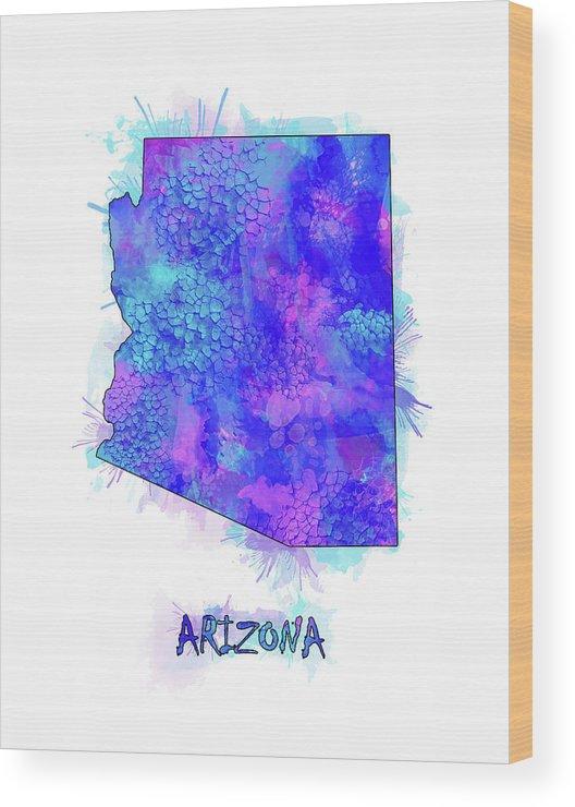 Arizona Wood Print featuring the digital art Arizona Map Watercolor 2 by Bekim Art