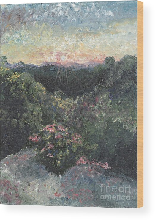 Landscape Wood Print featuring the painting Arkansas Mountain Sunset by Nadine Rippelmeyer