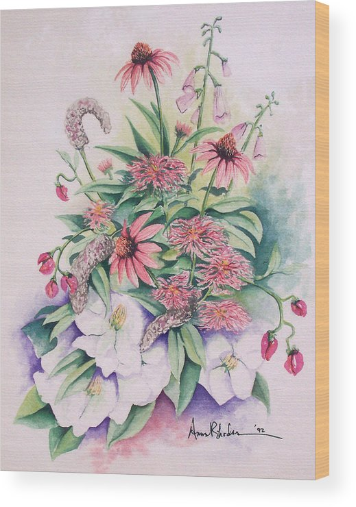 Floral Wood Print featuring the painting Arrangement In Pink by Anne Rhodes