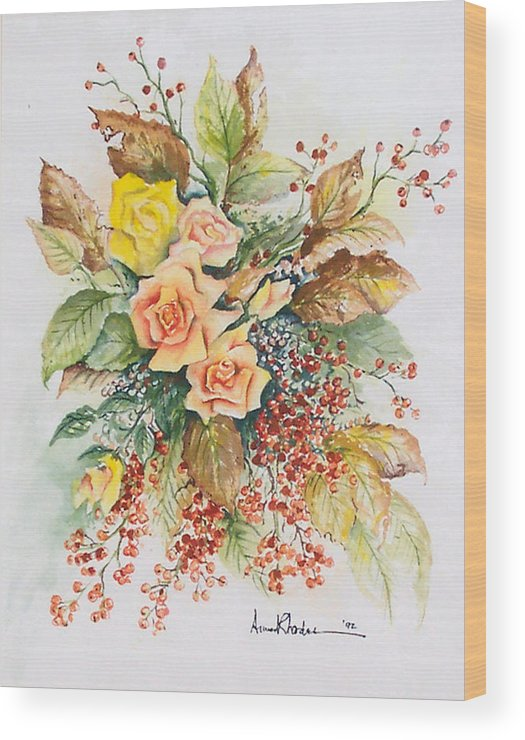 Floral Wood Print featuring the painting Arrangement In Yellow by Anne Rhodes