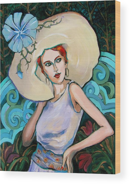 Portrait Wood Print featuring the painting Art Nouveau by Dianna Willman