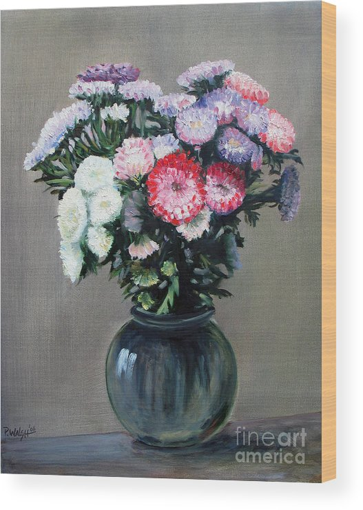 Flowers Wood Print featuring the painting Asters by Paul Walsh