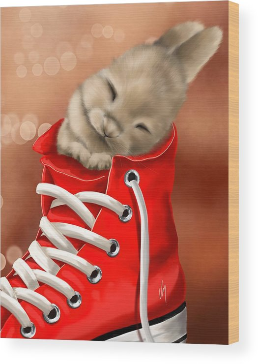 Bunny Wood Print featuring the painting Athletic Rest by Veronica Minozzi